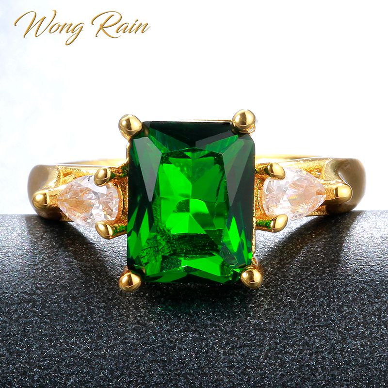 Wong Rain Vintage 925 Sterling Silver Emerald Gemstone Wedding Engagement Yellow Gold Ring Fine Jewelry Wholesale Drop Shipping