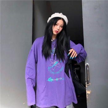 Purple Color Long Sleeve shirt Korean style women Spring autumn Causal loose O-neck T-shirt Tops Fall Tee Shirt Femme Dropship 2019 spring new women half sleeve loose flavour black dress long summer vestido korean fashion outfit o neck big sale costume