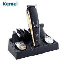 Kemei barbeador elétrico de titânio, 100 240v, 5 em 1, aparador de pelos, barba, homens, ferramentas de estilização máquina para barbeiro