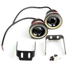 1 adet/2 adet araba COB 15W beyaz melek göz DRL sürüş projektör sinyal ampüller sis lambaları LED sis lambası otomatik ayarlama araba farı