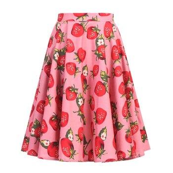 Autumn High Waist Skirts Cotton Womens Polka Dot Print Retro Vinatge Swing Pinup Skirt Rockabilly 50s Retro Vintage Jupe Femme 5