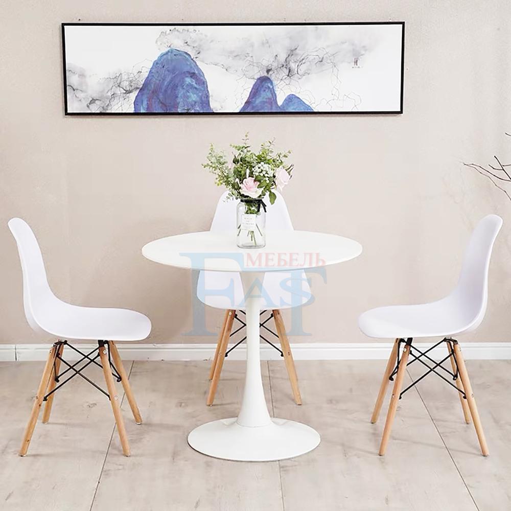 Table à manger ensemble peinture blanche table sur socle métallique table de cuisine table ronde table moderne livraison gratuite pour la russie - 4