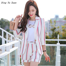 2020 Summer Elegant Striped 2 Pieces Set Shorts and Blazer Womens Short Sleeve Jacket Short Pants Suits Pink White Suite Women