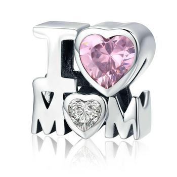 """HOT SALE!! S925 Silver Pink Cubic Zircon Necklace Charm Pendant DIY Jewelry Mother Day Gift """"I LOVE MOM"""" pendant necklace bracet"""