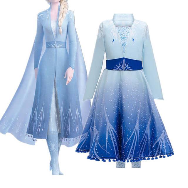 Nuevo Vestido Para Niñas Ropa Frozen 2 Elsa Princesa Set Navidad Cosplay Elsa Cumpleaños Fiesta Cielo Azul Princesa Vestido 2019