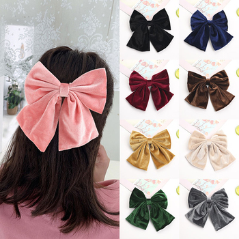 16.5cm Big Bow Hairpin Cute Velvet Barrettes Solid Color Hair Clip Women Girls BB Hairgrips Oversize Hair Accessories Headwear cotton linen fabric bows boutique hair bow clips sailor bow hair barrettes hairgrips baby girls women hair accessories headwear