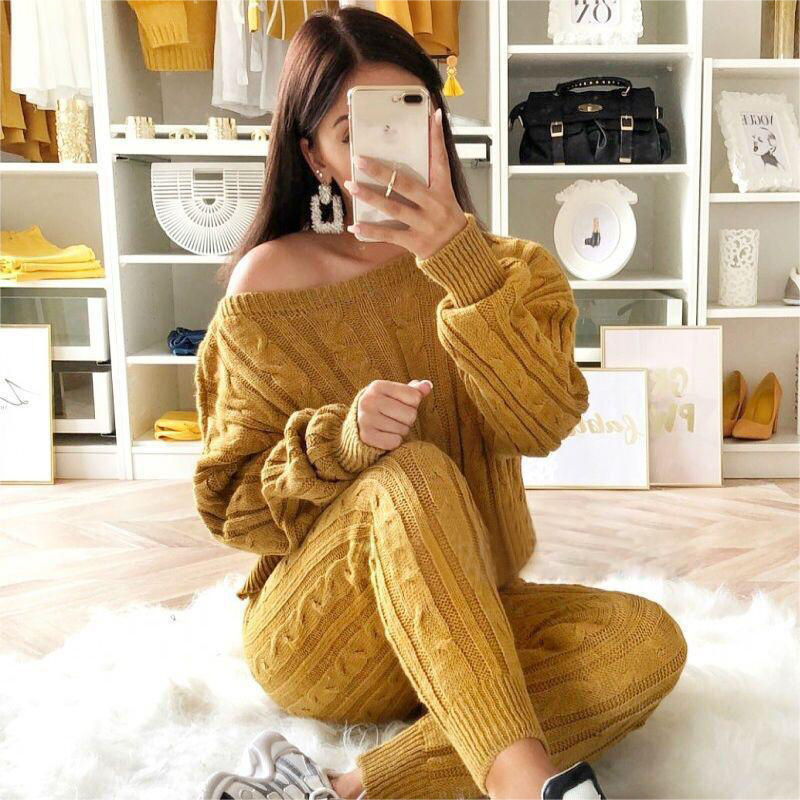 Autumn And Winter Fashion Women's Knit Tops Suit Knit Sports Off-shoulder Sexy Wool Knit Suit
