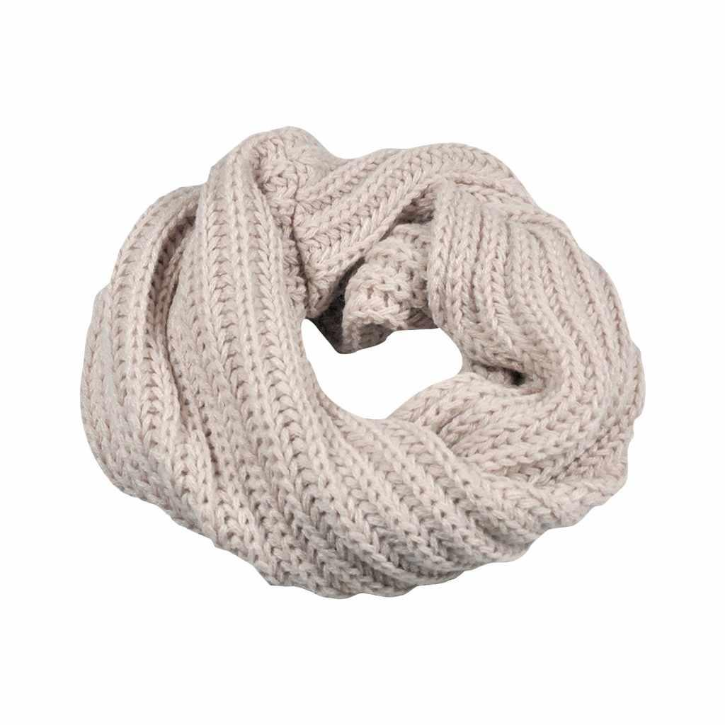 Minimaliste Hiver Chaud simple Foulards Femmes couleur Unie Tricot Cercle Laine Écharpe Châle Wrap Bib Col echarpe foulard femme # ZJ