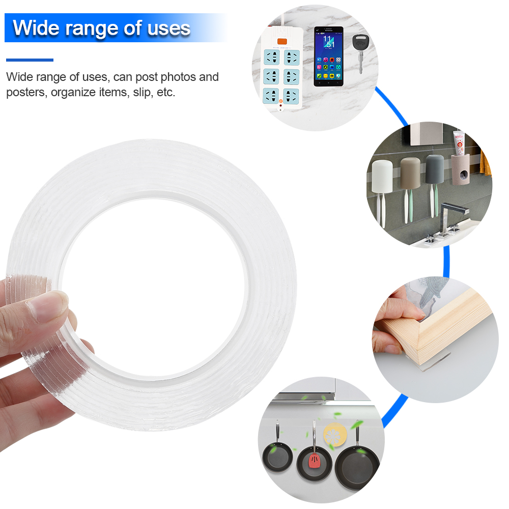 1M Double-Sided Reusable Adhesive Nano Traceless Tape Width 1MM Transparent Washable Adhesive Loop Disk Tie Glue Gadget Dropship