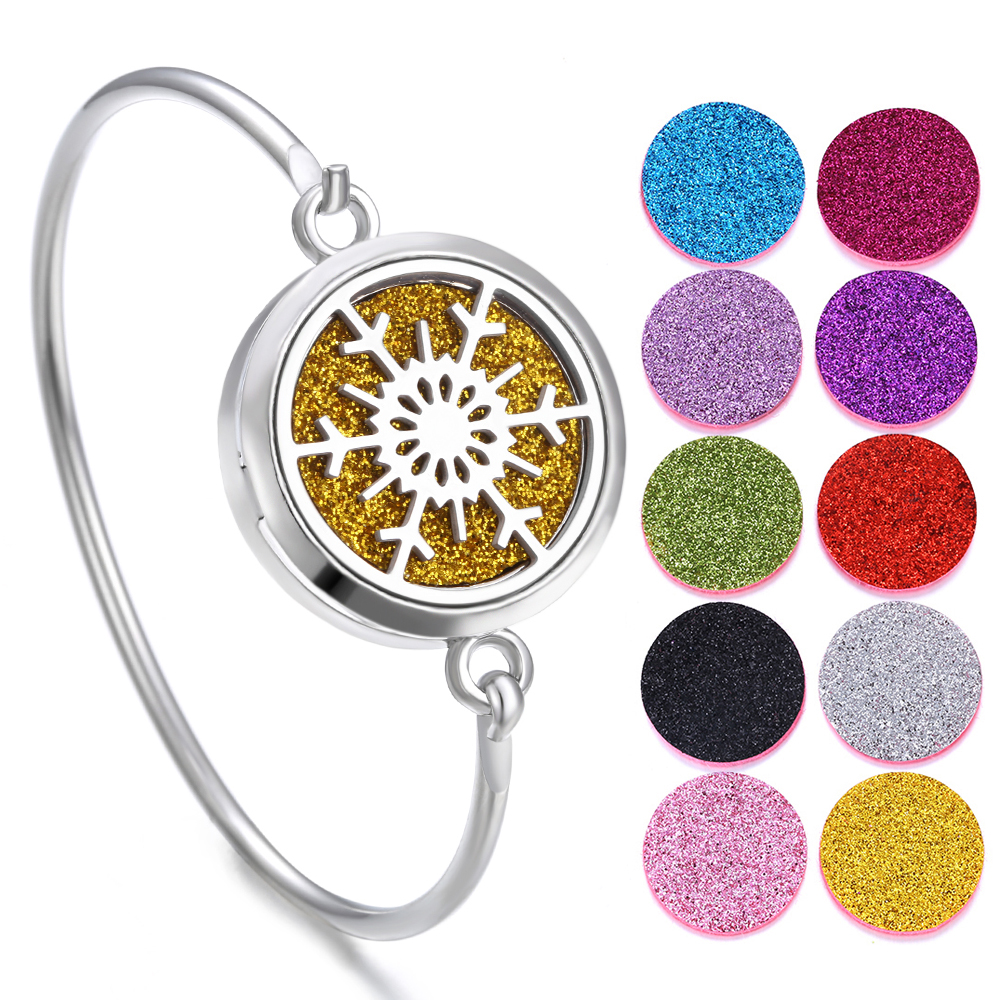 New Aromatherapy Jewelry Snowflake Aroma Diffuser Bracelet Bangle Stainless Steel Lockets Christmas Gift