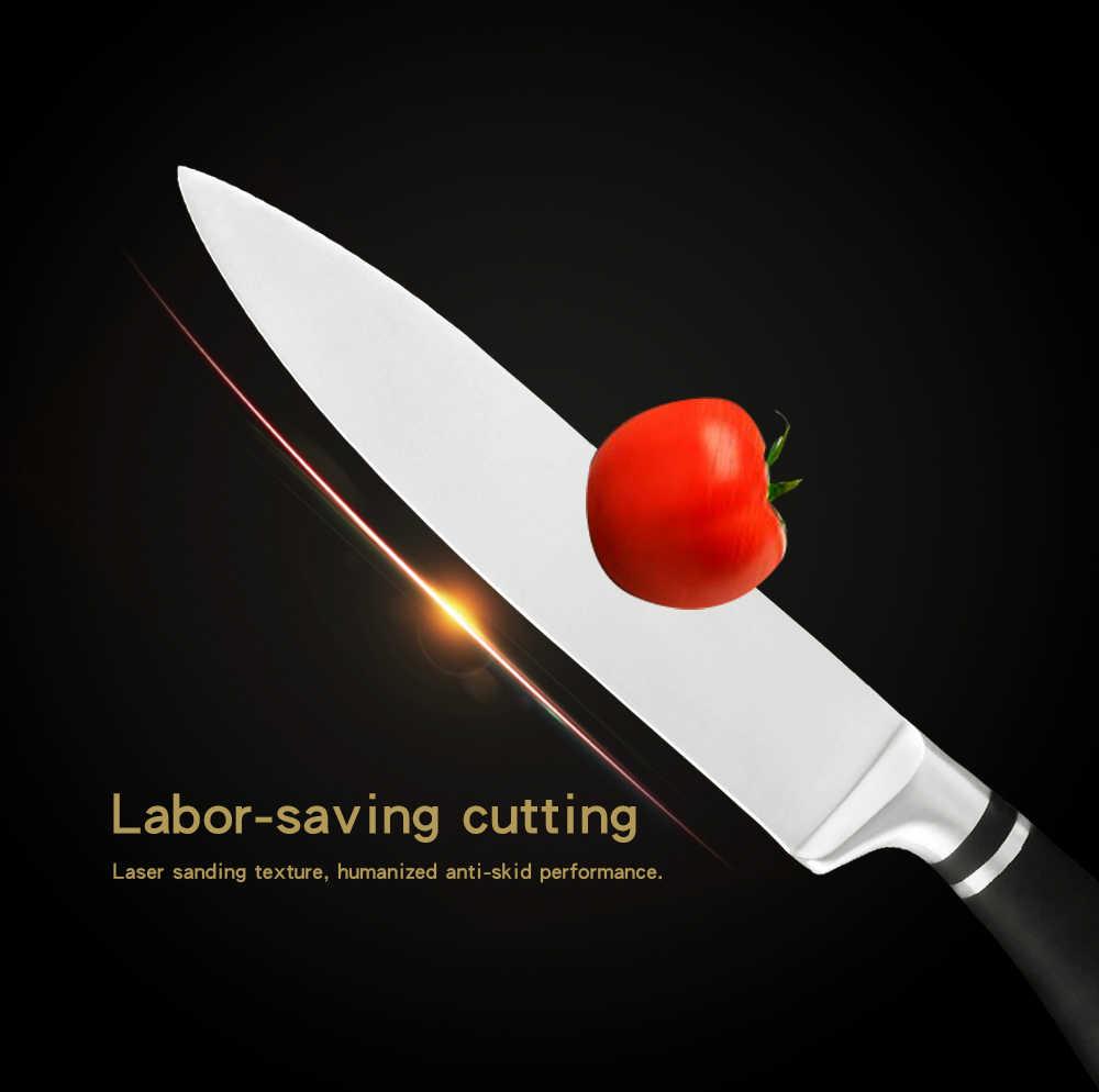 XYj נירוסטה 3Cr13 חד להב שחור ידית שף סכין סט מגנט סכין מחזיק מספריים סט מחדד בר בישול כלים