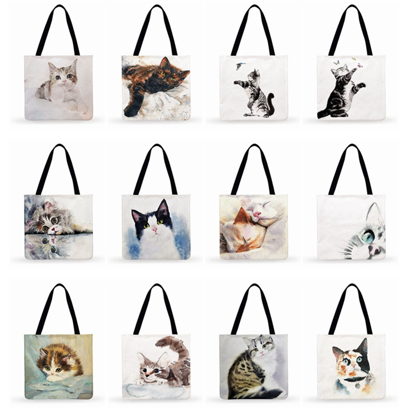 Women Handbags Watercolor Art Cat Print Bag Women Casual Tote Ladies Shoulder Bag Foldable Shopping Bag Outdoor Beach Tote Bag