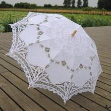 Модный зонтик от солнца, хлопковый Вышитый свадебный зонтик, белый кружевной зонтик цвета слоновой кости, Свадебный зонтик, украшения