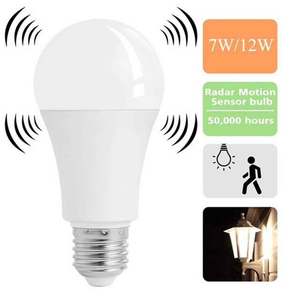 Newest E27 Smart LED Lights Bulbs 5/7/9/12W Energy Saving Radar Motion Sensor Led Lamp Auto ON/OFF For Home Garage Light 85-265V