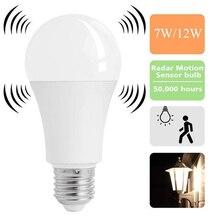 купить Newest E27 Smart LED Lights Bulbs 5/7/9/12W Energy Saving Radar Motion Sensor Led Lamp Auto ON/OFF For Home Garage Light 85-265V дешево