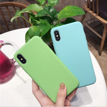 Universal phone case for iPhone7 6 6s 8 X Plus 5 5s XR XS Max simple solid color ultra-thin soft TPU case candy color back cover(China)