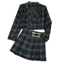 New England wind of new fund of 2019 autumn green plaid short jacket + leather buckle pleated skirt two piece outfit