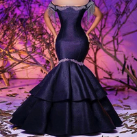 black prom dresses 2020 off the shoulder tassel beading lace appliques mermaid satin ruffle evening dresses