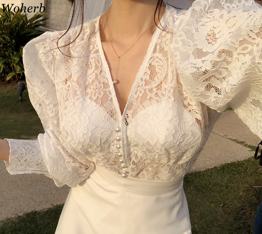Woherb Spring Summer Lace Blouse Women Tops Sexy Mesh Shirt See-through Long Puff Sleeve V-neck Blusas Korean Fashion Blouses