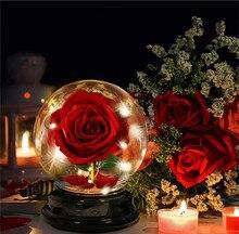 Rosa eterna con 2 modos de luz LED, flor en recipiente de cristal, regalo de cumpleaños para el día de la madre, decoración para el hogar, fiesta de boda
