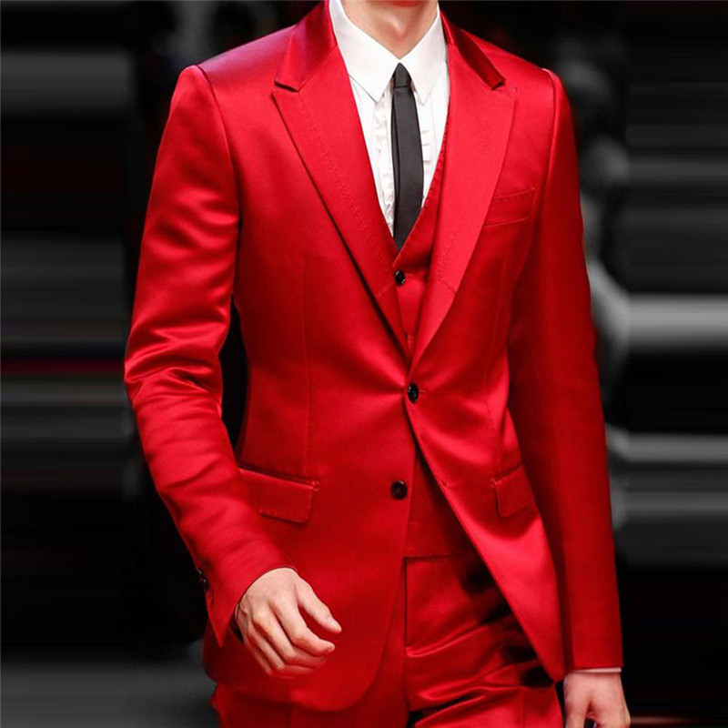 Handsome Red Groom Wedding Tuxedos Tailor Made Formal Slim Spring Party Banquet Dinner Suits Three Pieces (Jacket+Pants+Vest) 1