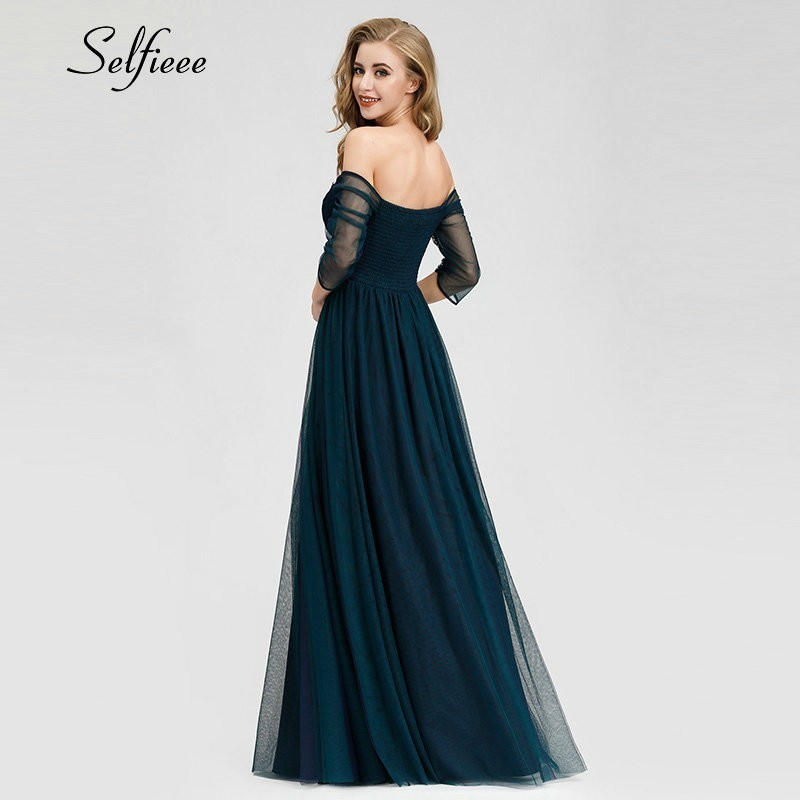 Elegant Long Women Dresses A Line Solid Color Half Sleeve V Neck Ladies Summer Maxi Dresses 2019 Vestidos De Fiesta De Noche in Dresses from Women 39 s Clothing