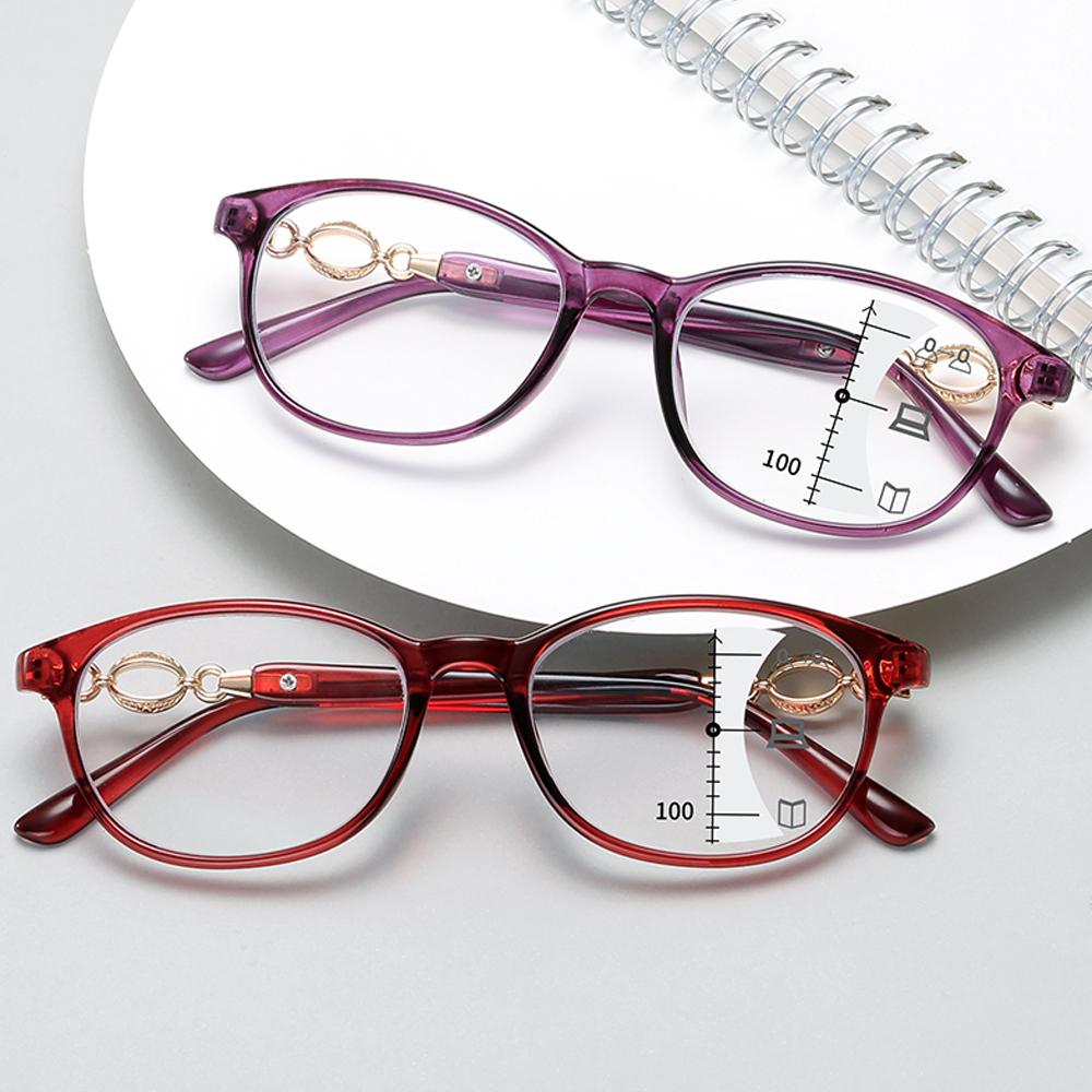 New Fashion Progressive Multifocal Reading Glasses Women Anti blue Light Eyeglasses Prescription Spectacles Diopter +1.0to+4.0
