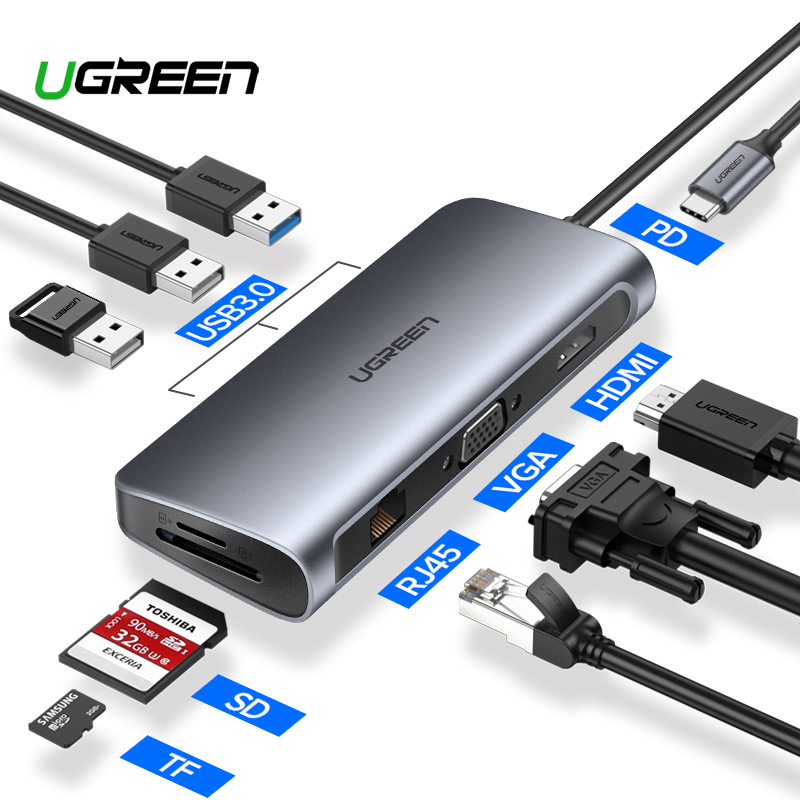 Ugreen All in 1 USB C HUB with Type C PD Power 4K Video HDMI SD Card Reader Gigabit Ethernet Adapter USB-C Type-C 3.0 HUB USB Углеродное волокно
