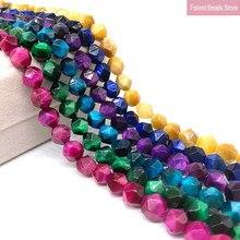 Perles en pierre naturelle à facettes, Agates œil de tigre colorées, perles amples, fil de 15 pouces 6 8 10MM pour la fabrication de bijoux, collier