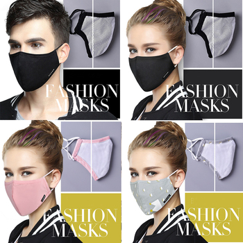 Washable Face Mouth Mask Dust-proof For Man Women With Activated Carbon Filter Mask Dustproof Cloth Cotton Masks