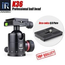 INNOREL K36 aluminiowa panoramiczna głowica kulowa 36mm Heavy Duty głowica statywu elastyczna głowica z ARCA SWISS na statyw kamery Monopod