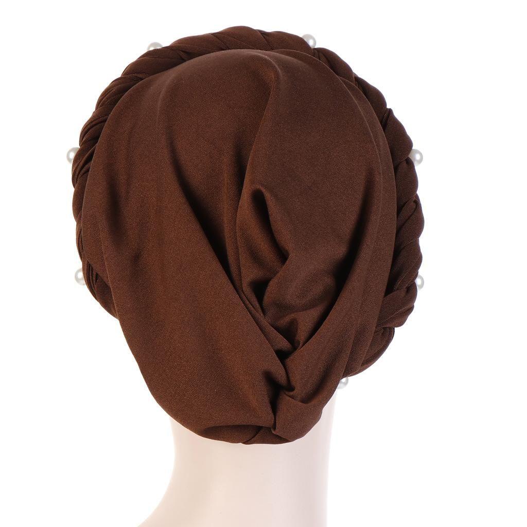 Image 3 - New Women Elastic Turban Hats Muslim Beads Cancer Chemo Cap Head  Wrap Cover Scarf Stretch Beanie Bonnet Indian Chemo Hair LossWomens  Skullies