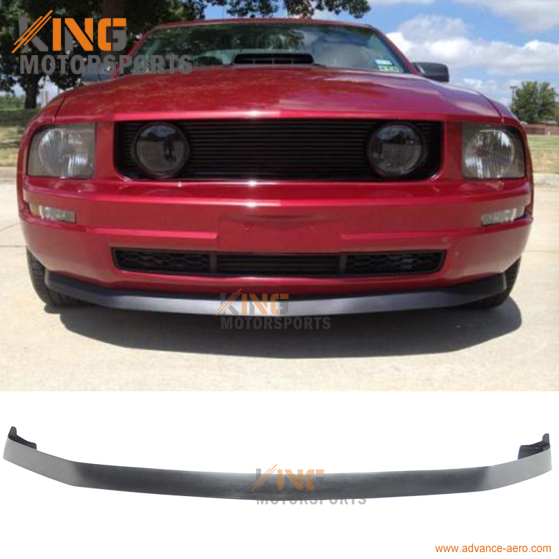 Fit For 2005 2006 2007 2008 2009 Ford Mustang V6 2Dr IK Style Chin Spoiler Front Bumper Lip Unpainted Black PU