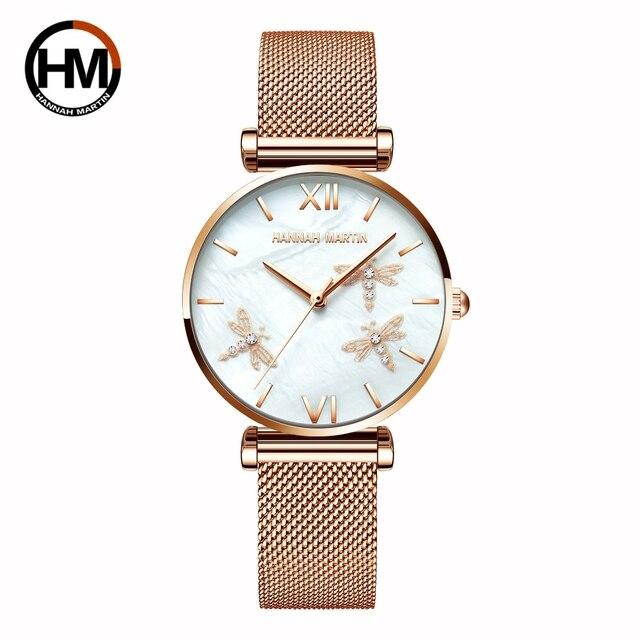 2021 novo design japão akoya pérola concha libélula senhoras luxo diamantes vieira relógios de aço inoxidável para mulher transporte da gota 3