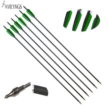 6 pcs Archery Carbon Arrow Spine 500 ID 6.2 mm OD7.8 100Grain  Mix Hunting And Shooting Accessories