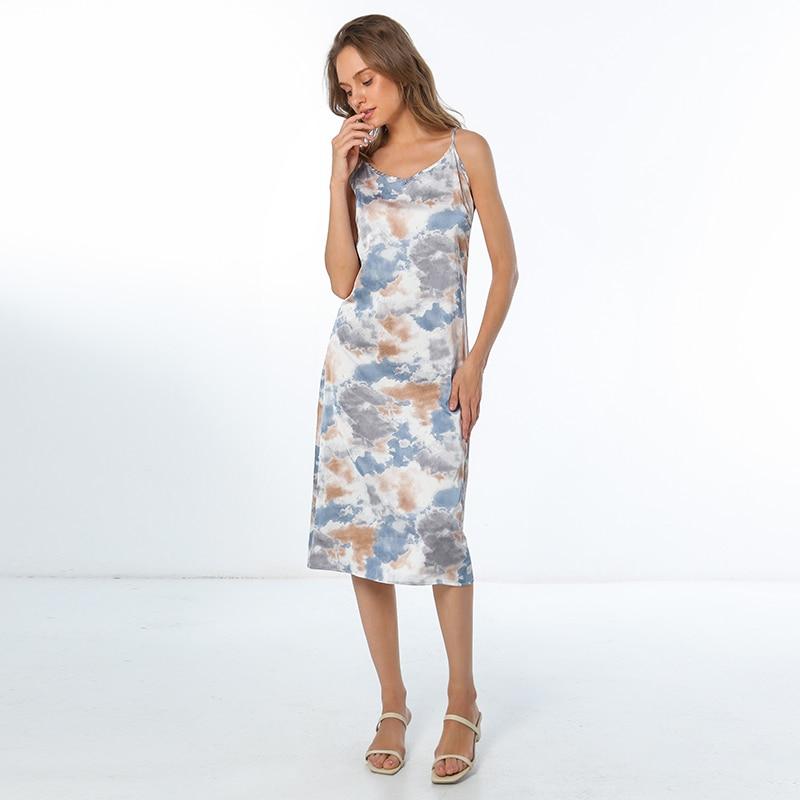Moda de alta qualidade vestido feminino verão espaguete cetim longo mulher vestido muito suave plus size S-4XL m30262 5