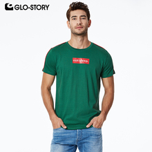 GLO-STORY Mens 2019 New 100% Cotton Fun Letter Print Streetwear Style T-shirt Casual Summer Basic Tshirt Fashion MPO-8554