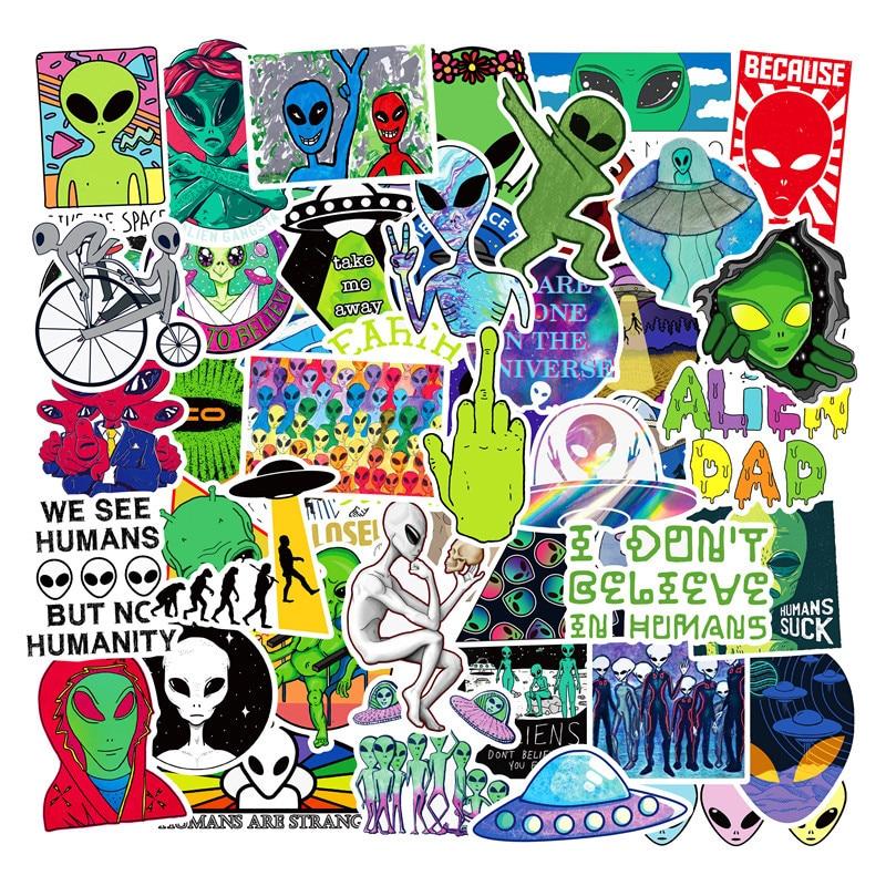 50PCS Funny ET Alien UFO Stickers Cute Children DIY Toys Stickers Skateboard Luggage Laptop Fridge Car Gtaffiti Decals Dope Pack