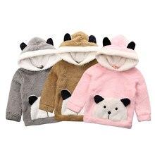 От 6 месяцев до 3 лет Теплые Топы с капюшоном для новорожденных девочек и мальчиков; плюшевая футболка с рисунком медведя из мультфильма; осенне-зимняя мягкая одежда для малышей