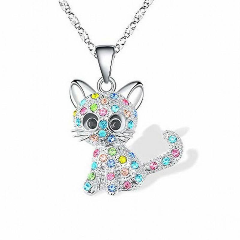 Обувь для девочек милый кот кулон ожерелье для женщин дети мода красочные с украшением в виде кристаллов с рисунками зверей из мультфильмов...