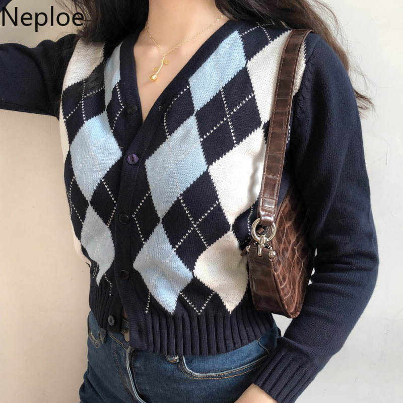 Neploe suéter feminino de malha xadrez, casacos vintage, manga comprida, decote em v, corte slim, casaco feminino trai