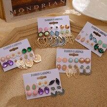 Ensemble de boucles d'oreilles EN Vintage pour femmes, ensemble bohémien de boucles d'oreilles EN cristal, feuille de fleur, pierre, pendentif, boucles d'oreilles, accessoires, bijouterie