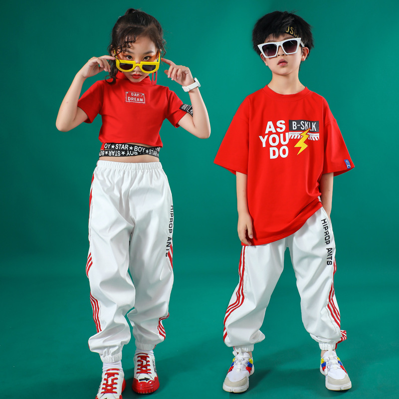 Hip Hop Costumes For Girls Boys Jazz Dancing Clothes Ballroom T Shirt Pants Stage Outfits Perform Kids Dance Competition Costume