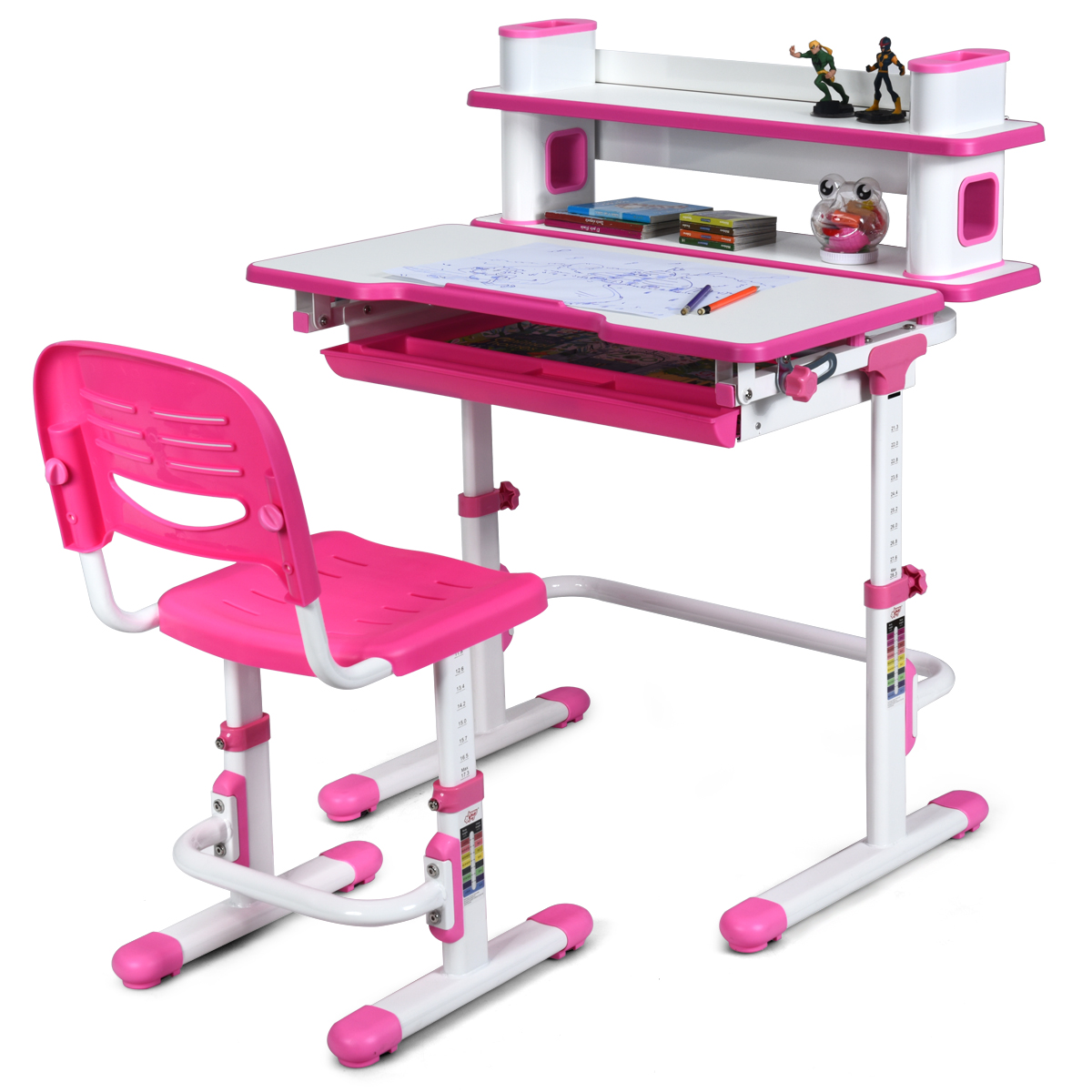 Children S Desk Chair Set Height Adjustable Working Table W Shelf Drawer Pink Buy At The Price Of 262 93 In Aliexpress Com Imall Com