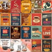 Placa de café Vintage Metal lata signos Bar Pub café placa decorativa pegatinas de café para pared tienda cartelera decoración del hogar 20x30cm