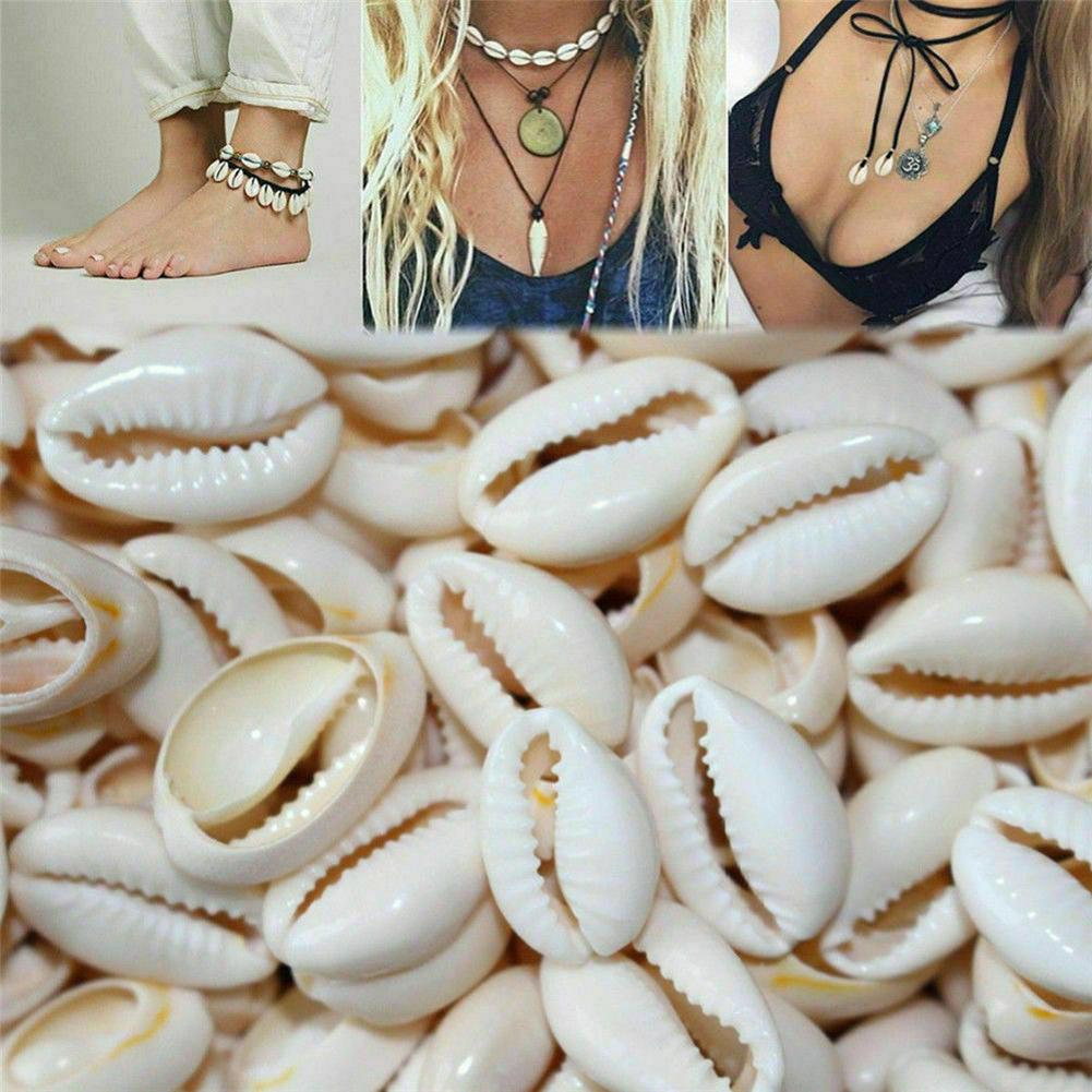 New 100Pcs Shell Cowry With Gap DIY Bracelet Necklace Anklet Ornament Necklace Jewelry Making Accessories Decor