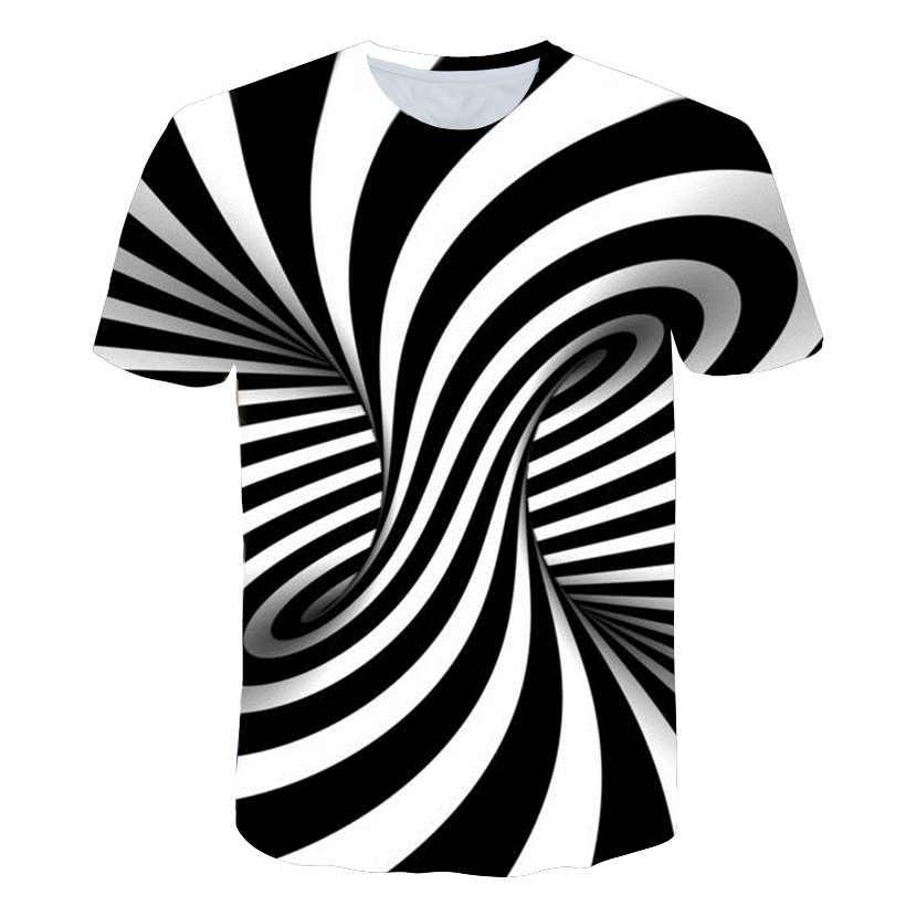 2019 lato najnowszy druku krótki rękaw koszulki mężczyźni czarny i biały Vertigo hipnotyczne kolorowe drukowanie 3D T shirt