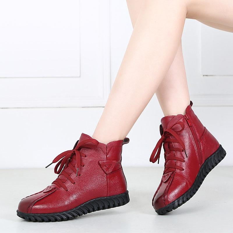 Image 5 - DRKANOL/2019 г.; женские зимние ботинки; зимняя теплая обувь; ботильоны для женщин из натуральной кожи на толстой шерсти; меховые ботинки на плоской подошве; женские ботинки-in Теплые сапоги from Обувь