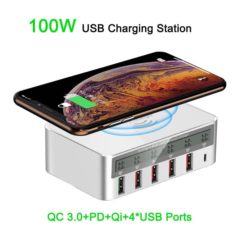 100W Charge rapide 3.0 5 Ports USB Tpye C PD chargeur rapide Qi sans fil LCD affichage pour iPhone Xiaomi tablette USB Station de Charge