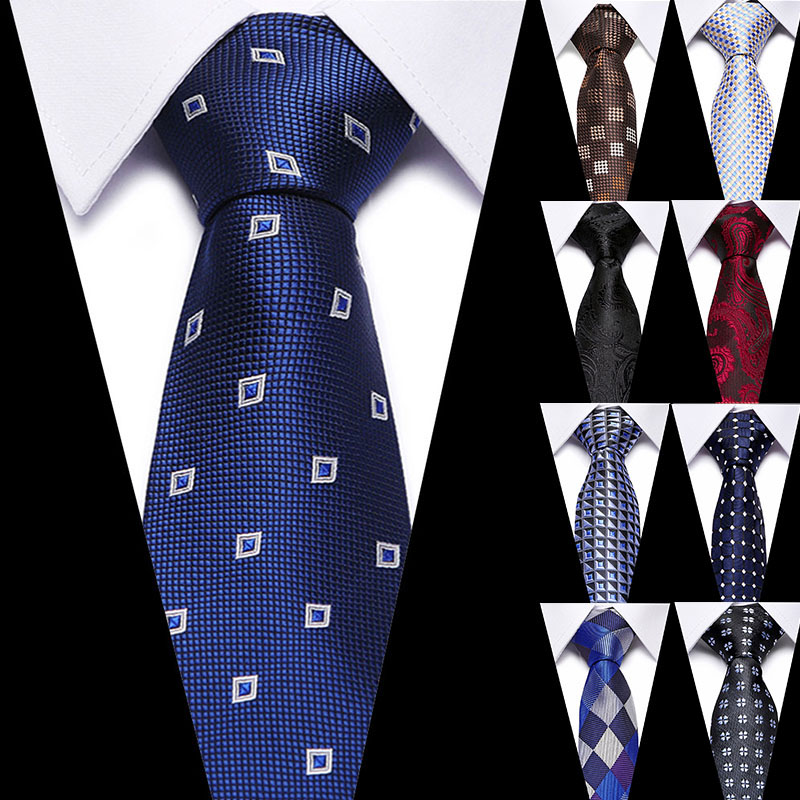 New Classic Solid 100% Slik Ties For Men Fashion Casual Necktie Business Mens Neckties 7.5cm Width Groom Ties For Wedding Party